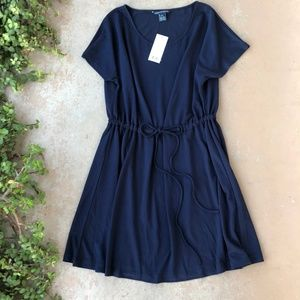 French Connection Navy Tie Waist Mini Dress